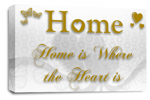 Home Quote Wall Art Picture White Gold Love Print